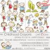 CHILDHOOD CRAYONS - VI - zestaw dodatków do wycięcia - RODZINA