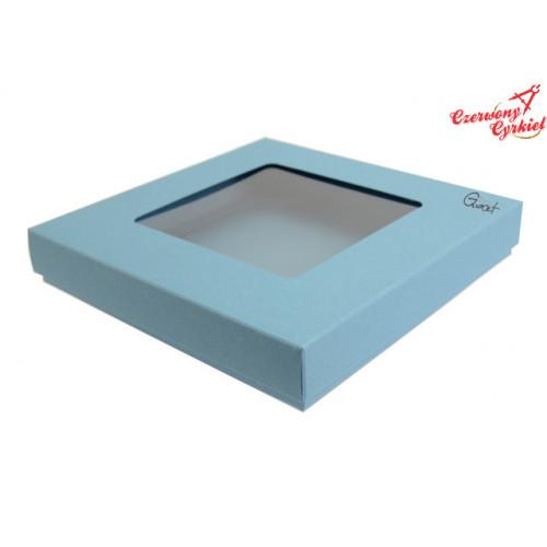 Pudełko na kartkę kwadratową z kwadratowym okienkiem - błękitne matowe - GoatBox